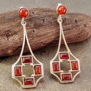 Jewelry - Vintage Sterling Silver Amber Statement Earrings